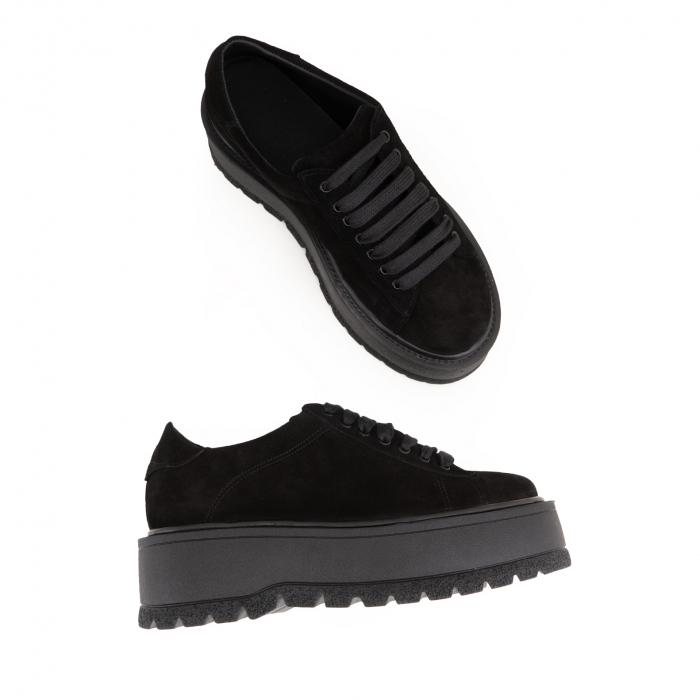 Pantofi cu talpă groasă, realizati din piele naturala intoarsa, neagra 3