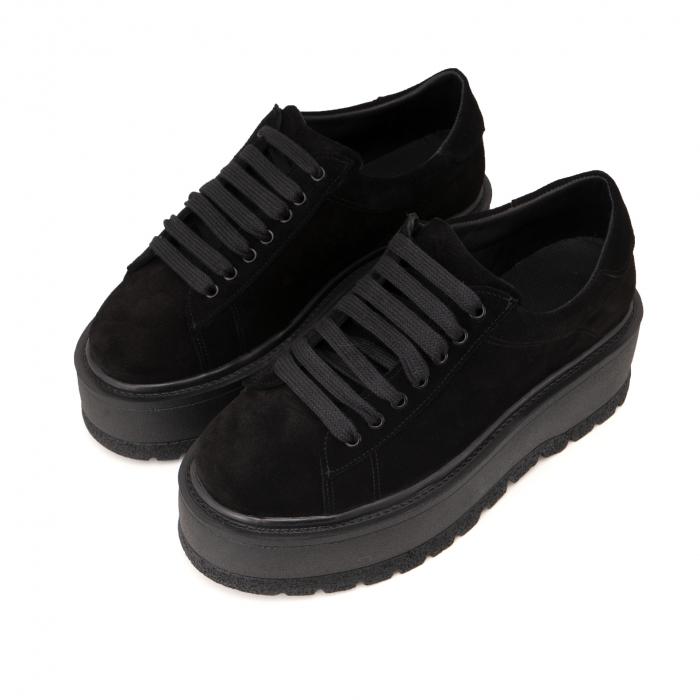 Pantofi cu talpă groasă, realizati din piele naturala intoarsa, neagra 2
