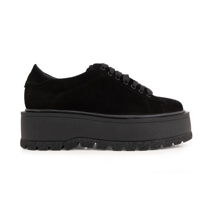 Pantofi cu talpă groasă, realizati din piele naturala intoarsa, neagra 0