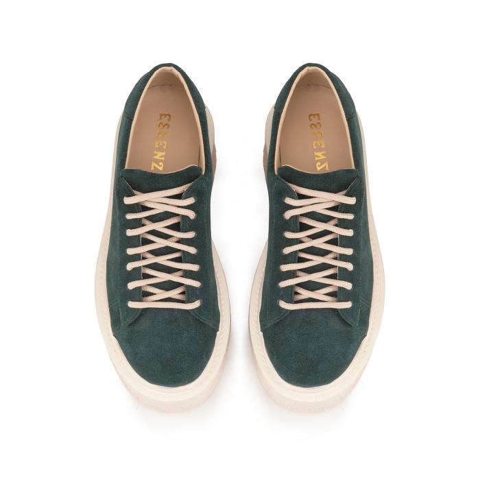 Pantofi cu talpă groasă, realizati din piele naturala intoarsa, verde [2]
