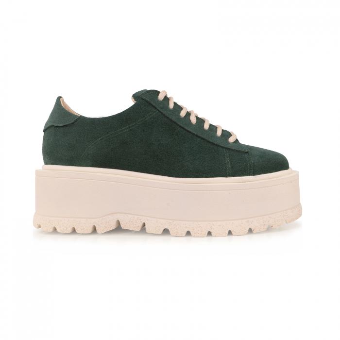 Pantofi cu talpă groasă, realizati din piele naturala intoarsa, verde [0]