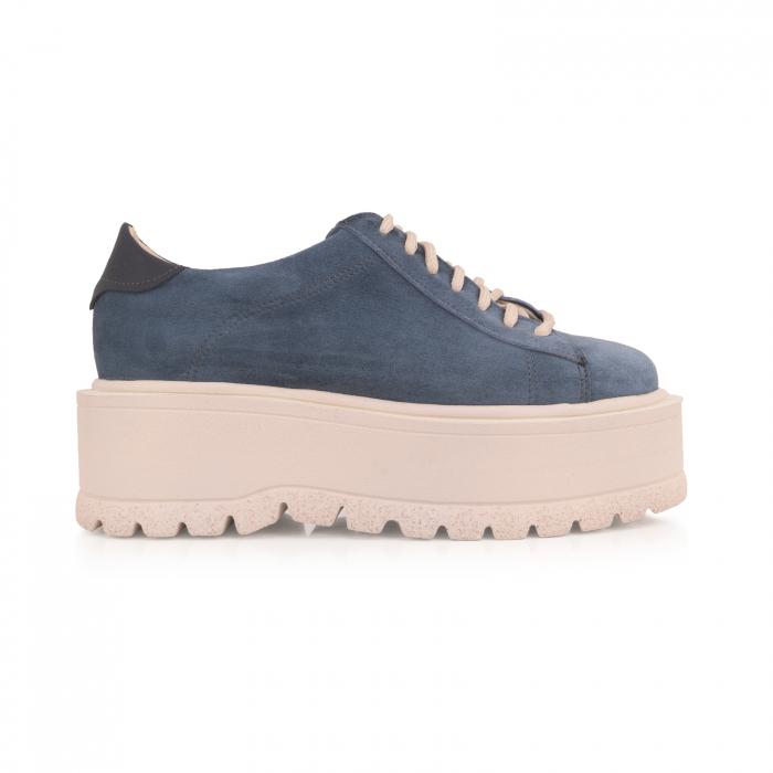Pantofi cu talpă groasă, realizati din piele naturala intorsa, albastru deschis 0
