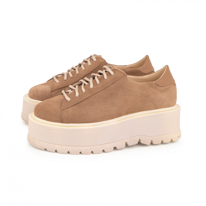 Pantofi cu talpă groasă, realizati din piele naturala intorsa, maron deschis 2