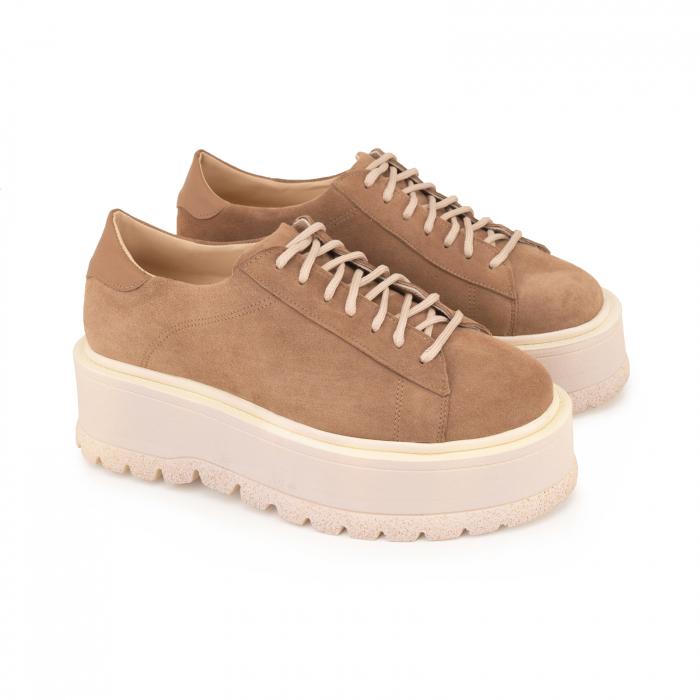 Pantofi cu talpă groasă, realizati din piele naturala intorsa, maron deschis 1