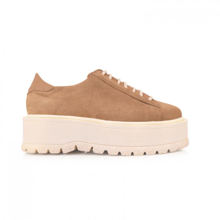 Pantofi cu talpă groasă, realizati din piele naturala intorsa, maron deschis 0