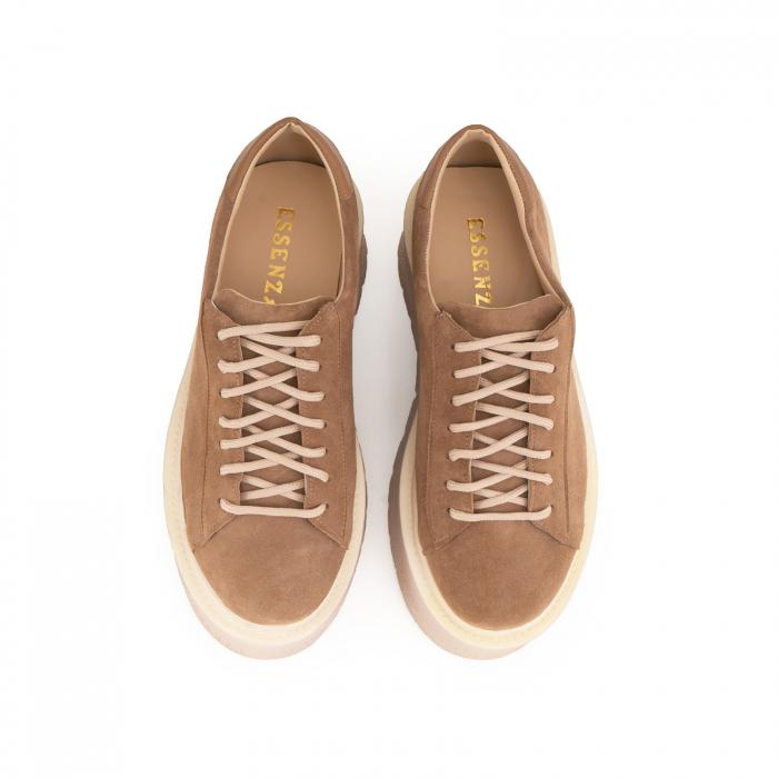 Pantofi cu talpă groasă, realizati din piele naturala intorsa, maron deschis 3
