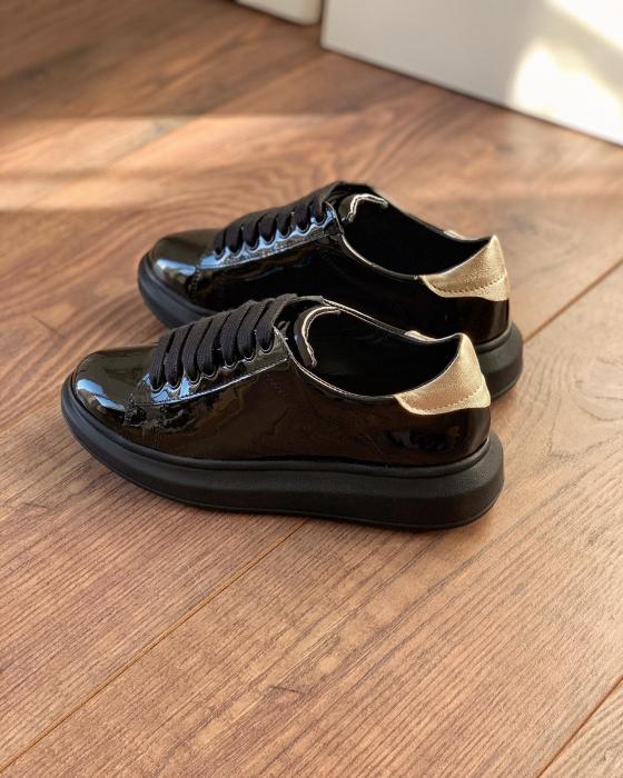 Pantofi cu talpă groasă, realizati din piele naturala lacuita neagra si aurie 2