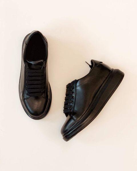 Pantofi cu talpă groasă, realizati din piele naturala neagra 0