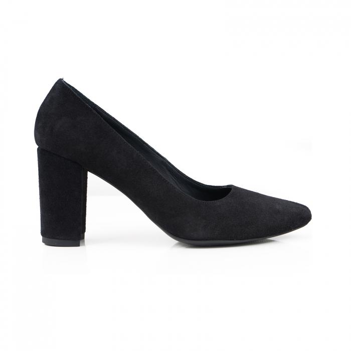 Pantofi cu toc patrat, din piele intoarsa neagra 0
