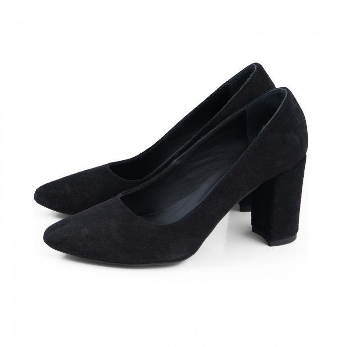Pantofi cu toc patrat, din piele intoarsa neagra 1