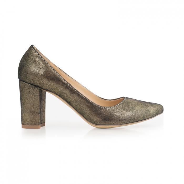 Pantofi cu toc patrat, din piele naturala, bronz laminat 0
