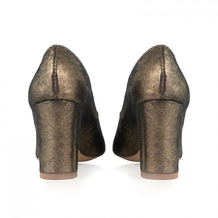 Pantofi cu toc patrat, din piele naturala, bronz laminat 2