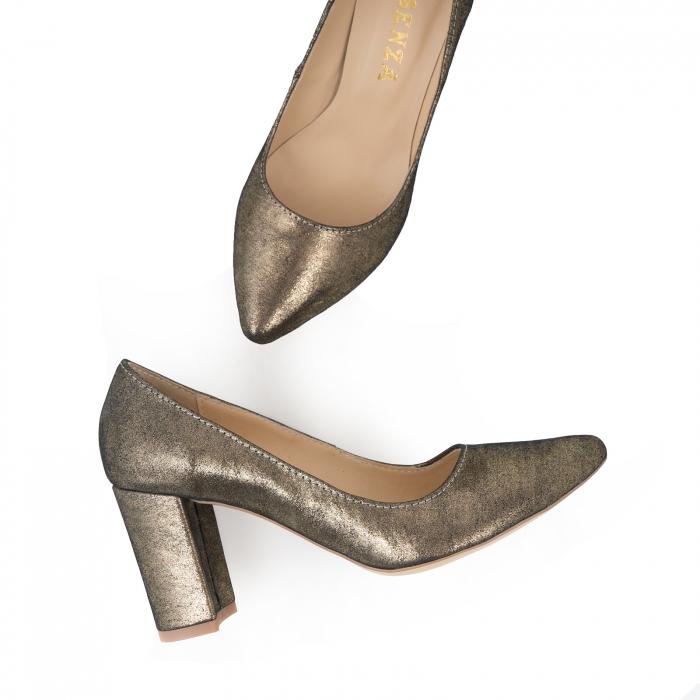 Pantofi cu toc patrat, din piele naturala, bronz laminat 1