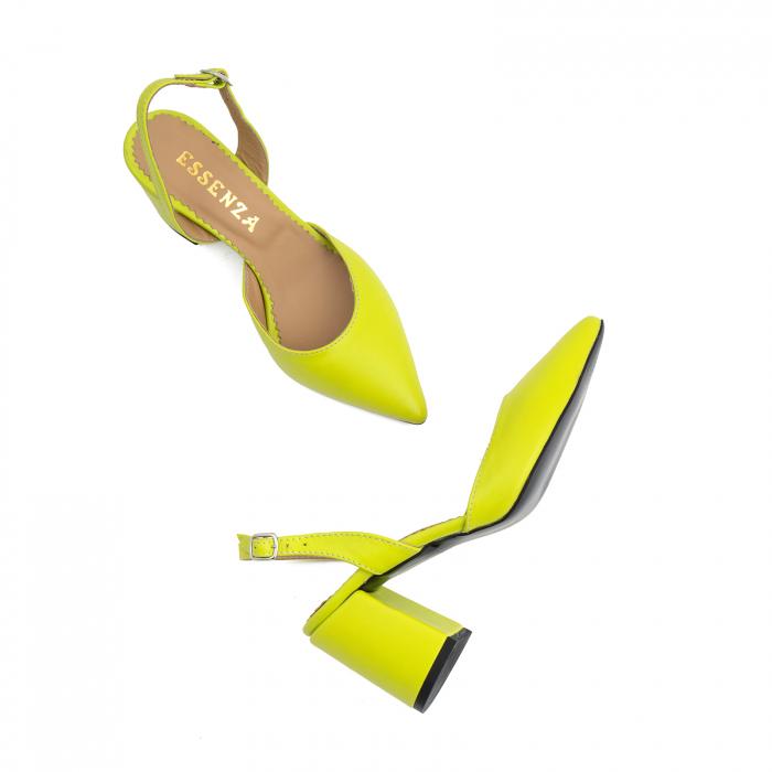 Pantofi cu varf ascutit decupati, cu bareta peste calcai, din piele naturala verde neon 3