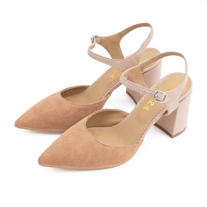 Pantofi cu varf ascutit decupati, cu bareta peste calcai, din piele nude rose si piele intorsa roz somon 2