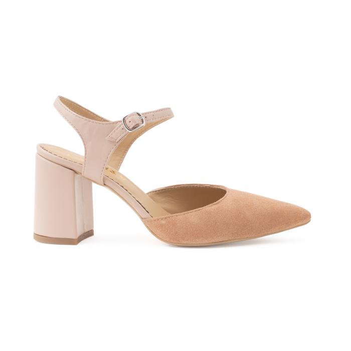 Pantofi cu varf ascutit decupati, cu bareta peste calcai, din piele nude rose si piele intorsa roz somon 0