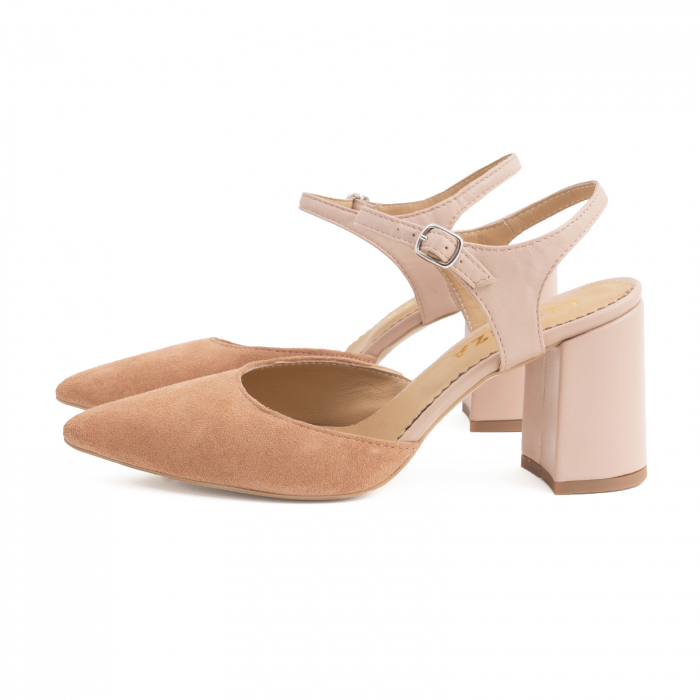 Pantofi cu varf ascutit decupati, cu bareta peste calcai, din piele nude rose si piele intorsa roz somon 1
