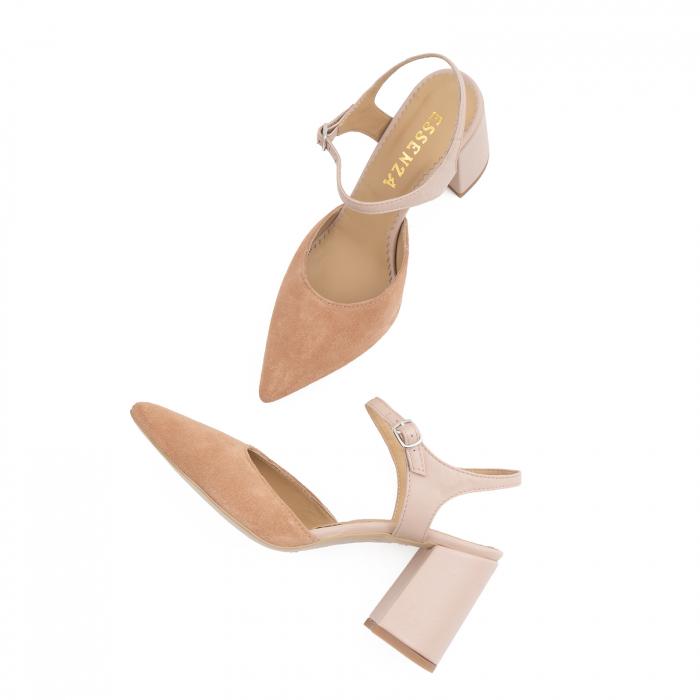 Pantofi cu varf ascutit decupati, cu bareta peste calcai, din piele nude rose si piele intorsa roz somon 3