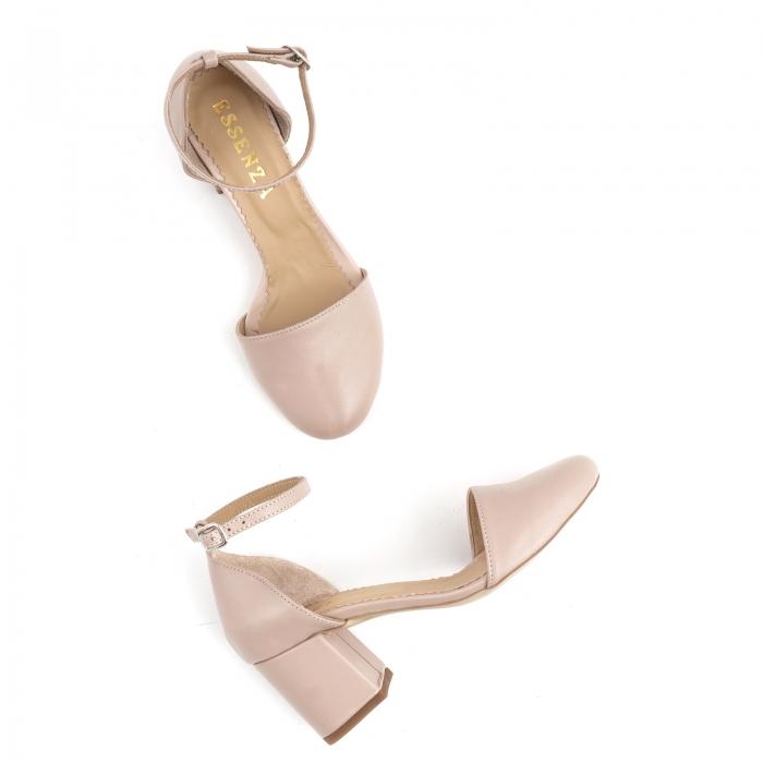 Pantofi cu varf rotund cu decupaj si bareta la calcai, din piele naturala nude roze 2