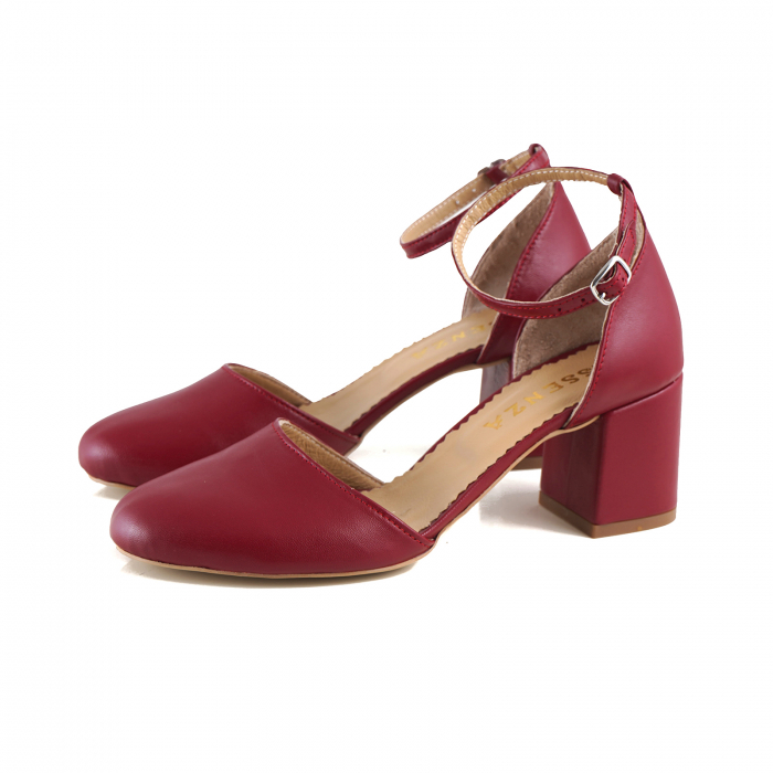 Pantofi cu varf rotund, cu decupaj si bareta la calcai, din piele naturala rosu inchis 1