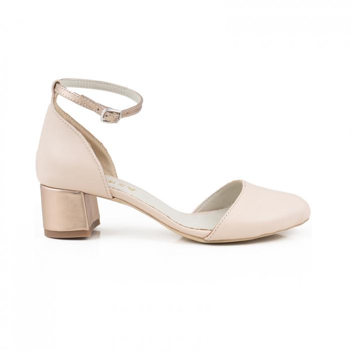 Pantofi cu varf rotund, cu decupaj si bareta la calcai, din piele nude rose si piele sidefata bronz [0]