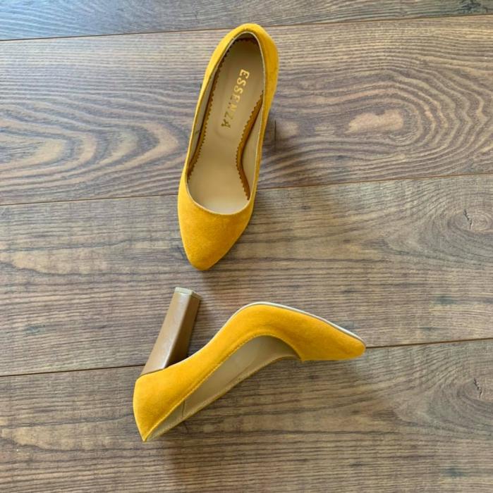 Pantofi cu varf semiascutit, din piele intoarsa galbena si piele maron camel 0