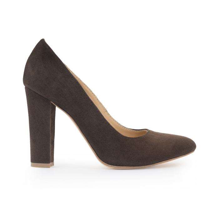 Pantofi cu varf semiascutit, din piele intoarsa maron 0