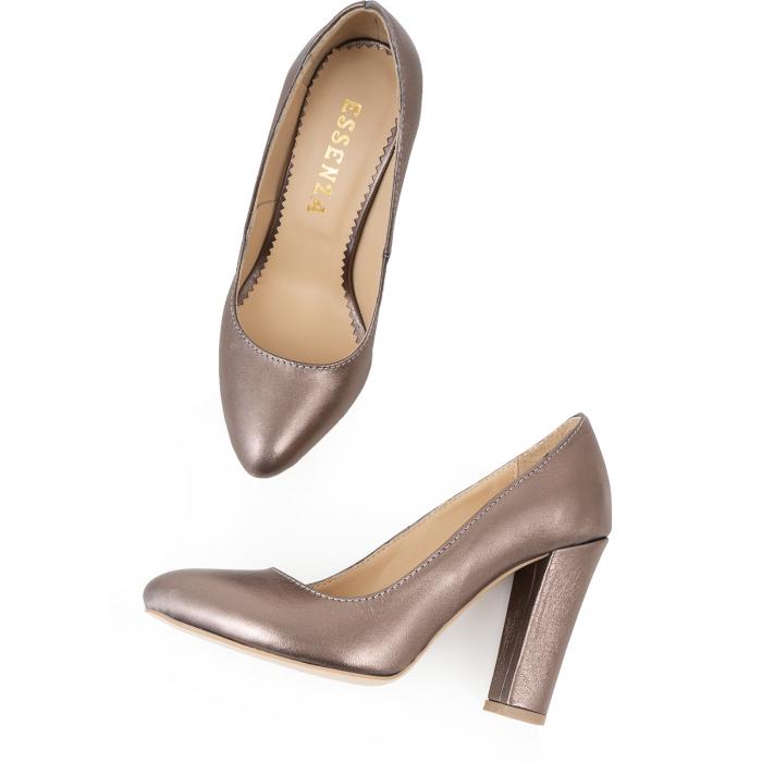 Pantofi cu varf semiascutit, din piele naturala, bronz laminat 2