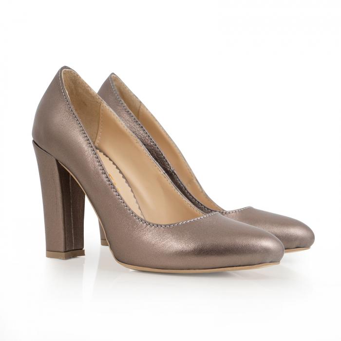 Pantofi cu varf semiascutit, din piele naturala, bronz laminat 1