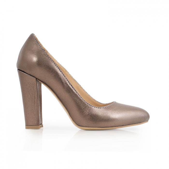 Pantofi cu varf semiascutit, din piele naturala, bronz laminat 0