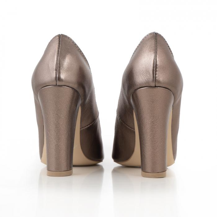 Pantofi cu varf semiascutit, din piele naturala, bronz laminat 3