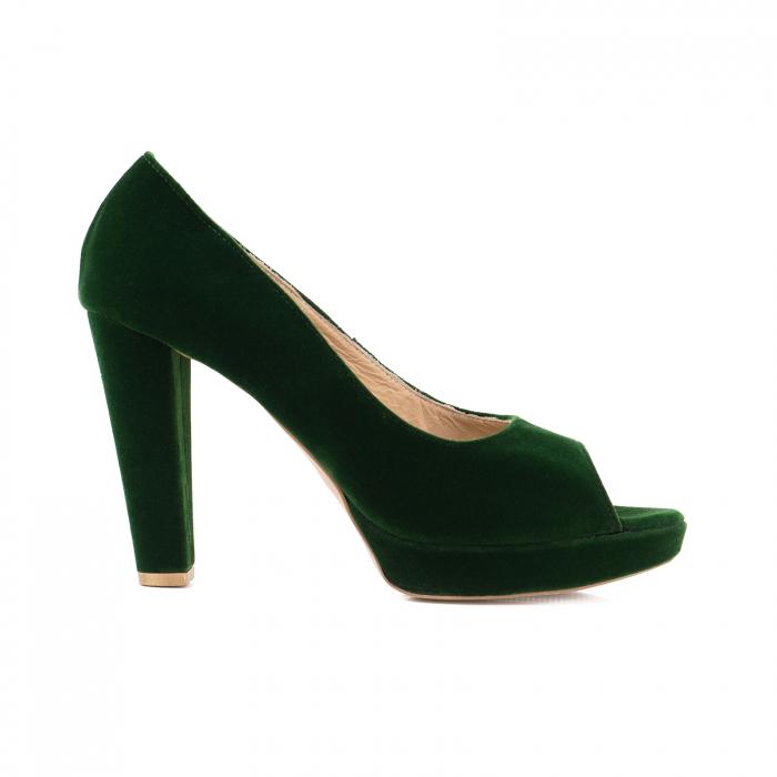 Pantofi decupaj  la varf, din catifea verde, cu toc gros si platforma [0]