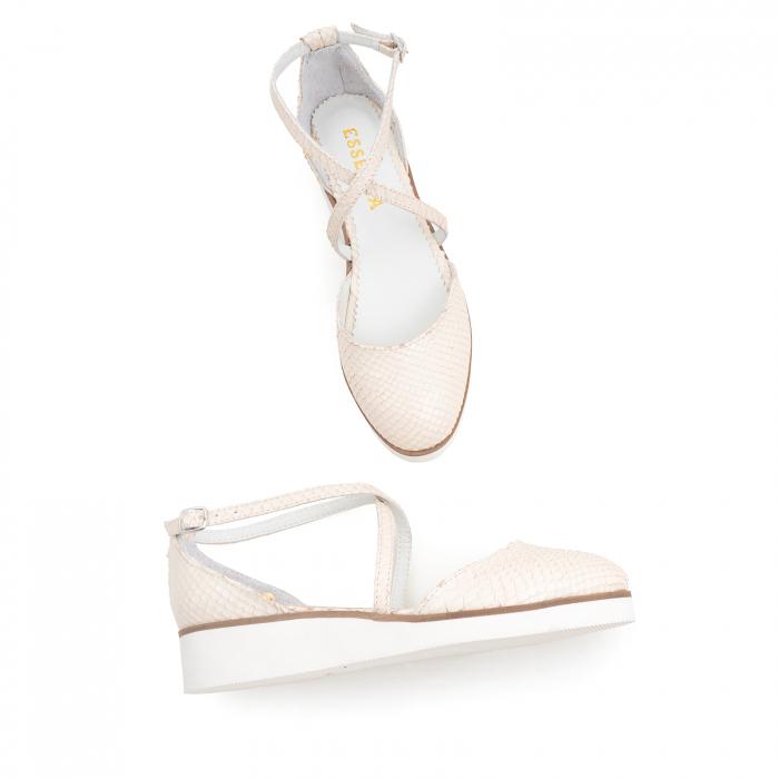 Pantofi decupati, din piele naturala bej cu presaj sarpe 2
