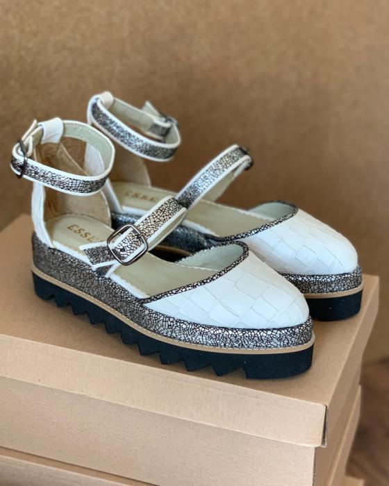 Pantofi decupati, din piele naturala cu textura tip croco si piele texturata in nuante de negru si argintiu [0]