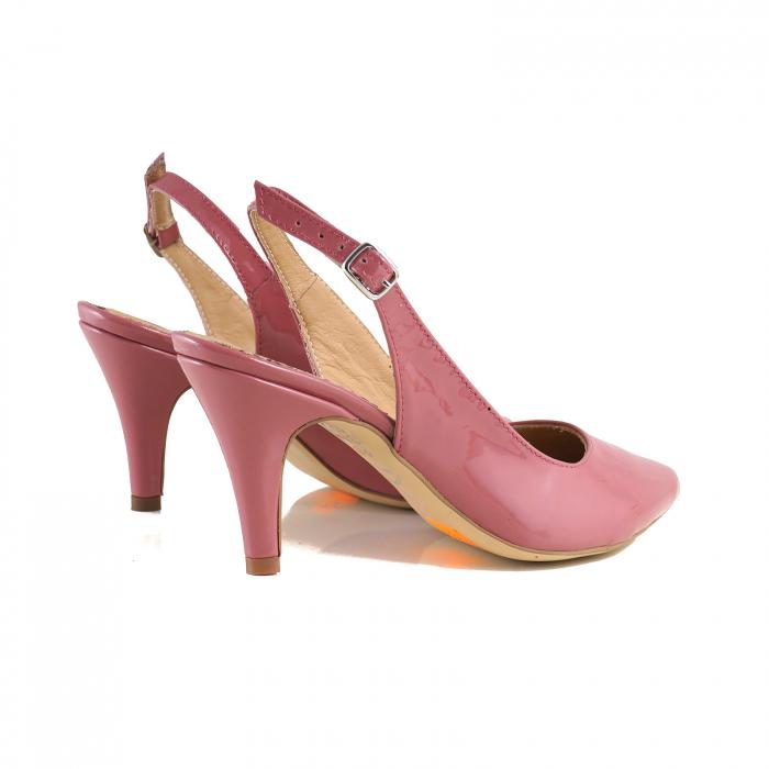 Pantofi decupati la spate, din piele lacuita roz coral 1