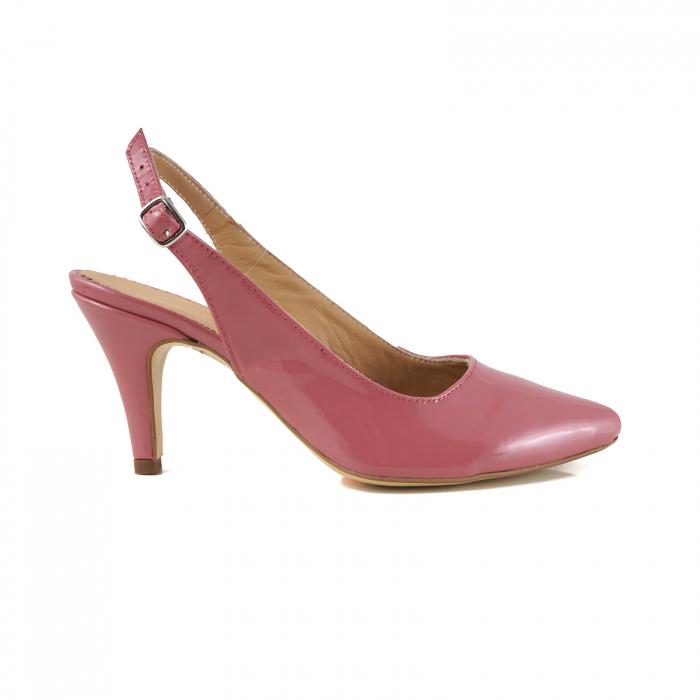 Pantofi decupati la spate, din piele lacuita roz coral 0