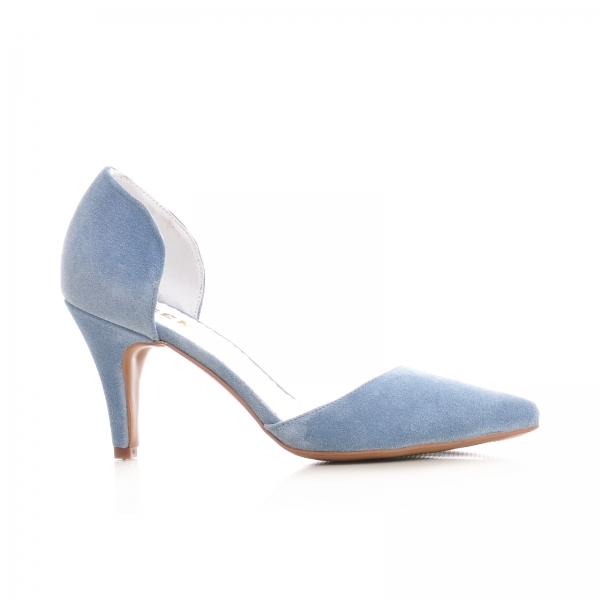 Pantofi din piele intoarsa albatru baby blue 0