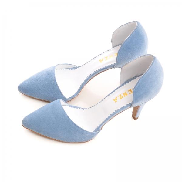 Pantofi din piele intoarsa albatru baby blue 2