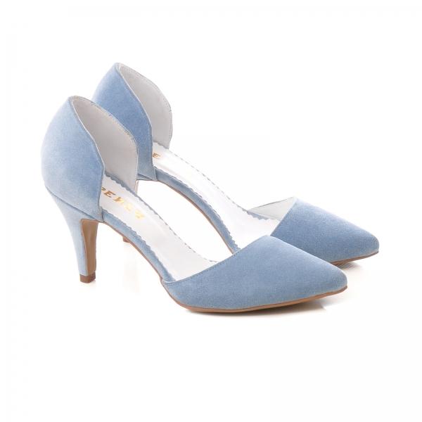 Pantofi din piele intoarsa albatru baby blue 1