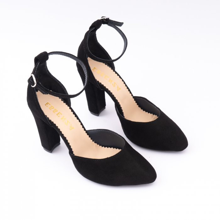 Pantofi din piele intoarsa neagra, cu varf semi-ascutit si decupaj interior si exterior. 2
