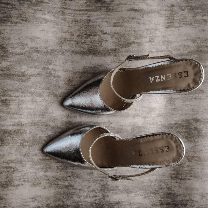 Pantofi din piele laminata, argintiu crapat, cu varf ascutit si decupaj 0