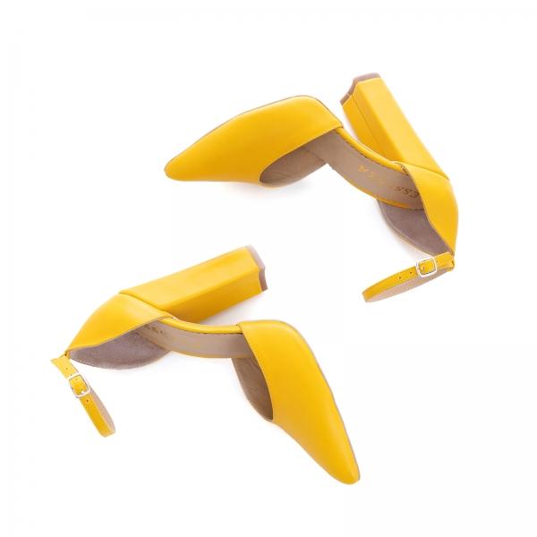 Pantofi din piele naturala de culoare galben 2
