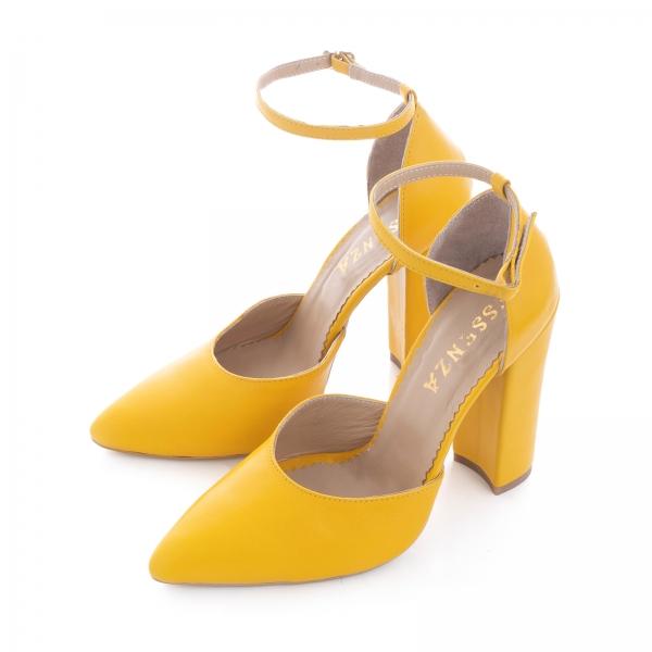 Pantofi din piele naturala de culoare galben 1