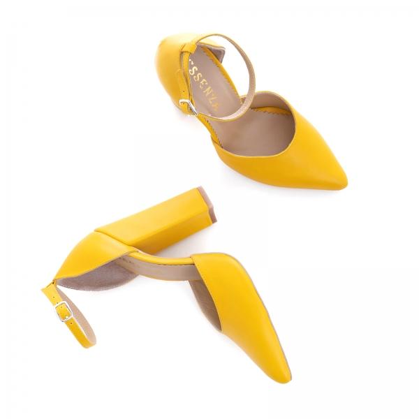 Pantofi din piele naturala de culoare galben 3