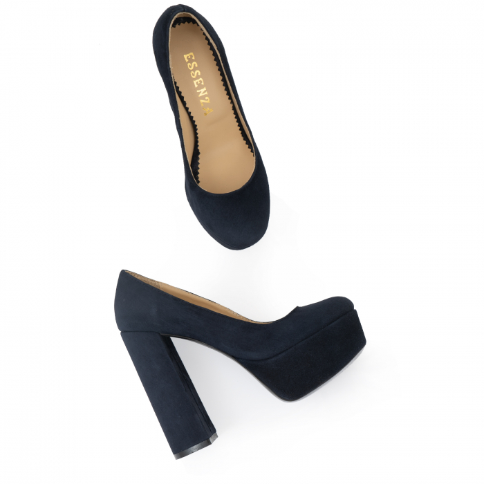 Pantofi din piele naturala intoarsa, neagra 1