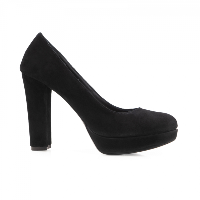 Pantofi din piele naturala intoarsa neagra, cu toc gros si platforma. 0