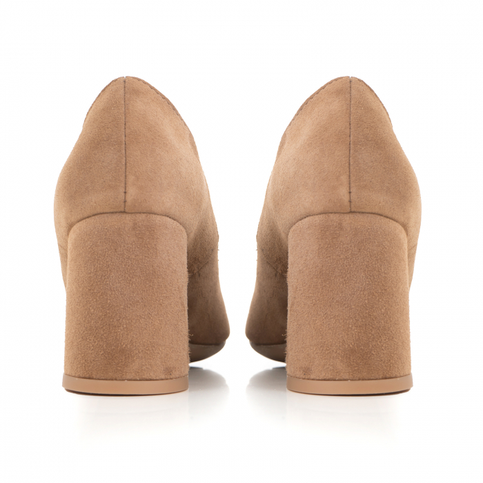 Pantofi din piele naturala intoarsa, roz- somon, cu toc patrat si varf rotinjit 2