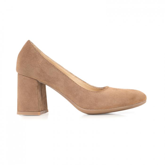 Pantofi din piele naturala intoarsa, roz- somon, cu toc patrat si varf rotinjit 0