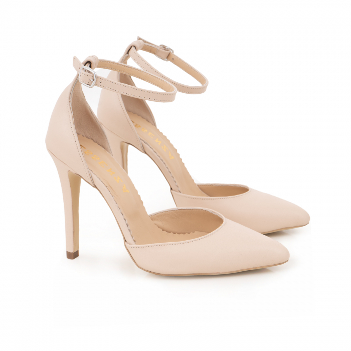 Pantofi din piele naturala, nude rose, cu varf ascutit si decupaj interior si exterior. 1