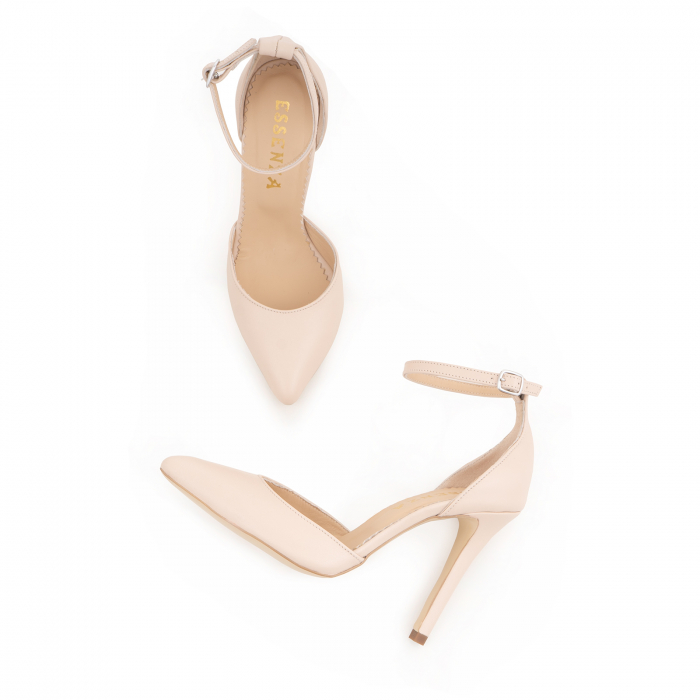 Pantofi din piele naturala, nude rose, cu varf ascutit si decupaj interior si exterior. 3